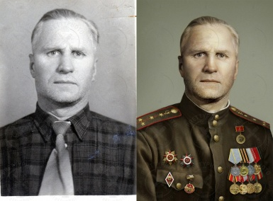 Man`s photo colorization, adding military clothes