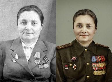 Woman`s photo colorization, adding military clothes