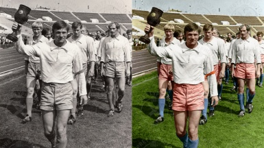 Colorization of an old photo - sportsmen