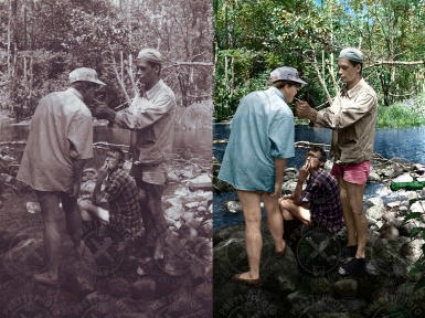 Colorization of an old black and white photo
