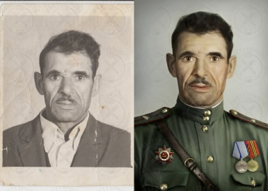 Colorization of black and white photo with a man in military uniform
