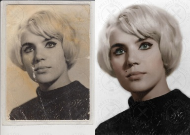 Colorization of an old woman photo