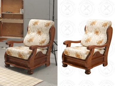 Professional clipping of an item -  an armchair