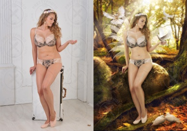 Commercial retouching for a catalogue of underwear