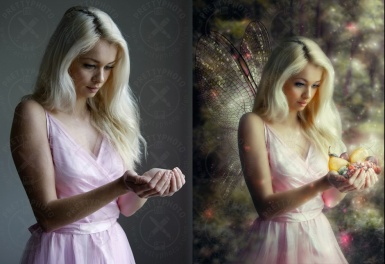 Professional stylization of a girl photo - a forest fairy