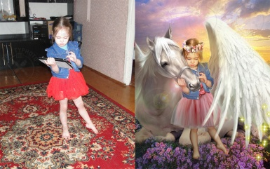 Artistic editing of a child`s photo