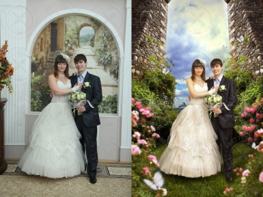 Fairytale stylization of a wedding portrait