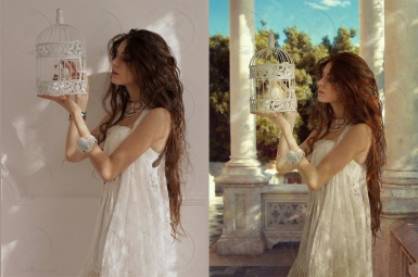 Stylization of a photo of a girl in white