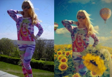 Photo stylization - a girl in flowers