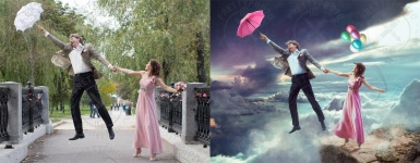 Creative editing, stylization of a romantic photo