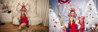 A fairy-tale Christmas photomontage of a family photo
