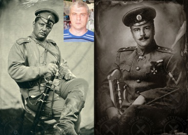 Photomontage - changing to military clothes, moustaches adding