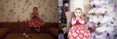 A fairy-tale Christmas photomontage of a child photo