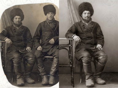 Removing scratches from old photo, recovering of lost parts