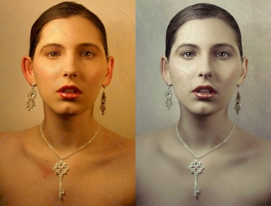 Complex skin retouch, face changing in Photoshop, color correction