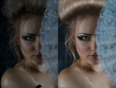 Beauty photo retouching, color correction
