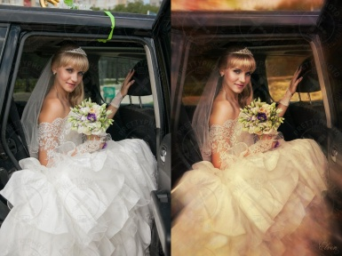 Professional retouch of a wedding photo