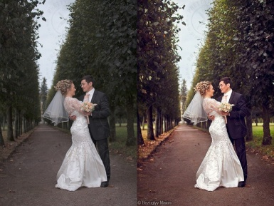 Color correction of a wedding photo