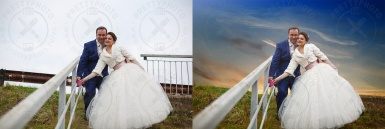 Background replacement of a wedding photo