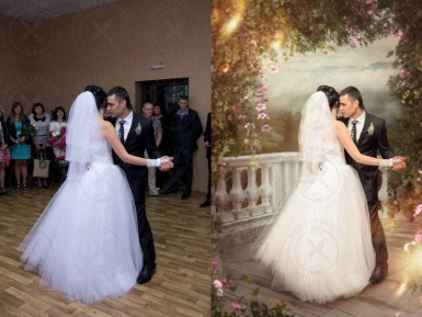 Artistic editing of a wedding photo